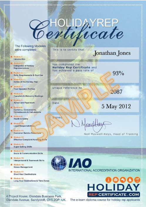 Example of the Holiday Rep Certificate you will achieve